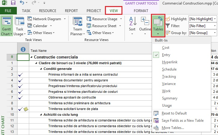 Tutorial Microsoft Project Gantt Chart View 2
