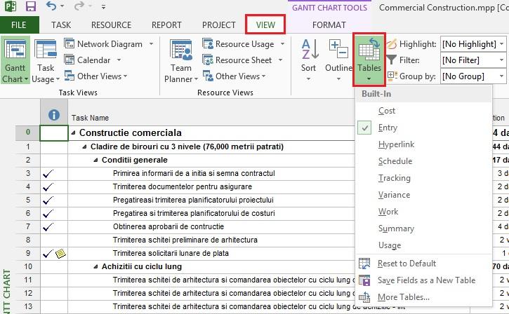 Tutorial Microsoft Project Gantt Chart View 2