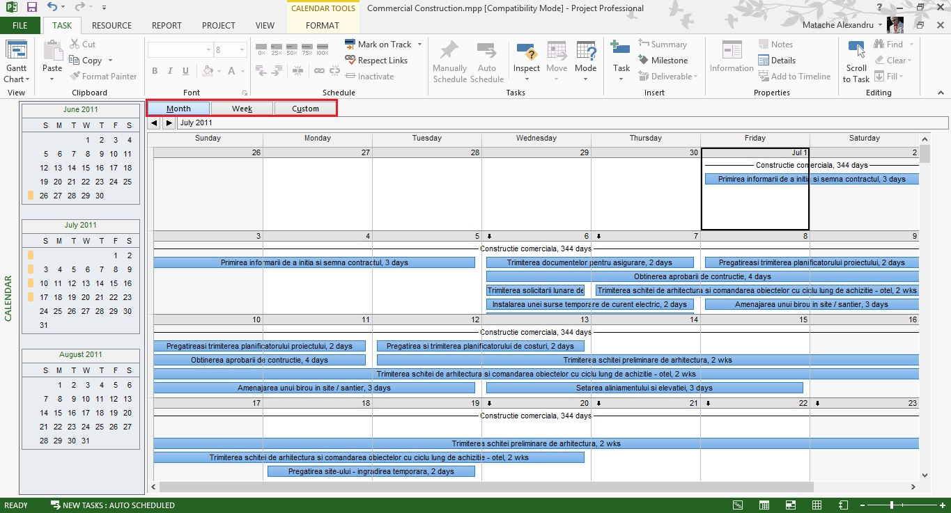 Tutorial Microsoft Project Calendar View